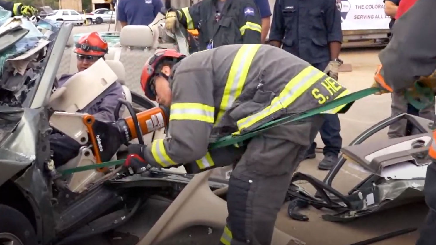 """Featured image for """"Team Holmatro Demonstrates Vehicle Extrication in Less Than 8 Minutes with Battery Powered Holmatro Hydraulic Rescue Tools"""""""
