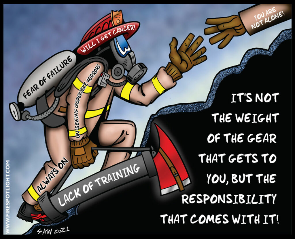 Firefighter Cartoon: The weight of responsibility